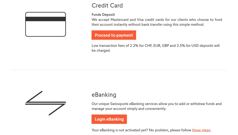 Swissquote Depósito e Retirada